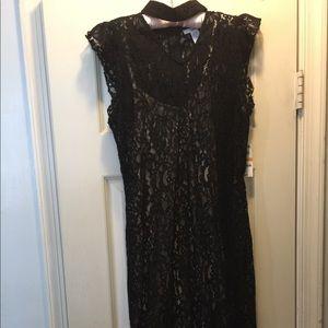 Formal, midi, black lace dress